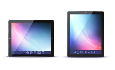 illustration of classy tablet PC in horizontal and vertical view with icons on a toolbar Illustration