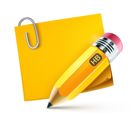 yellow note: illustration of sharpened fat yellow pencil with postit pad  Illustration