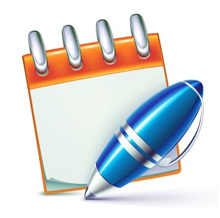 calendario escolar: ilustraci�n de funky elegante pluma bol�grafo con el bloc de notas frescas Vectores