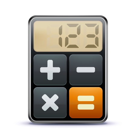equal to: Vector illustration of business concept with calculator icon