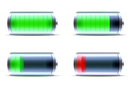 recarga: Ilustraci�n vectorial de cuatro iconos detallados de la bater�a de indicadores de nivel de brillo