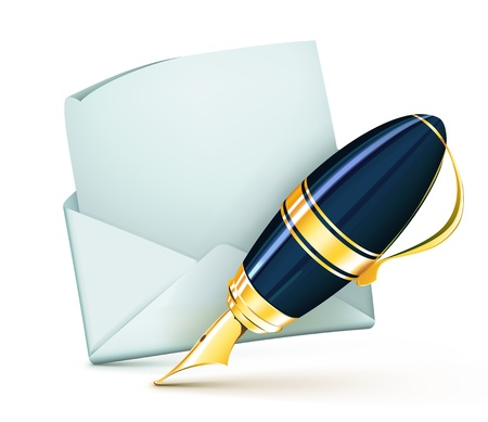 Vector illustration of elegant fountain pen with white blank open envelope