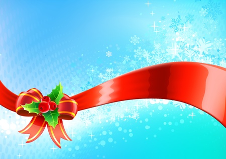 Vector illustration of blue Christmas abstract background with cool snowflakes, red ribbon, holly leaves and berries Vector