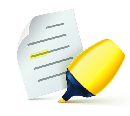 Vector illustration of cool fat yellow marker with office paper notes Vector