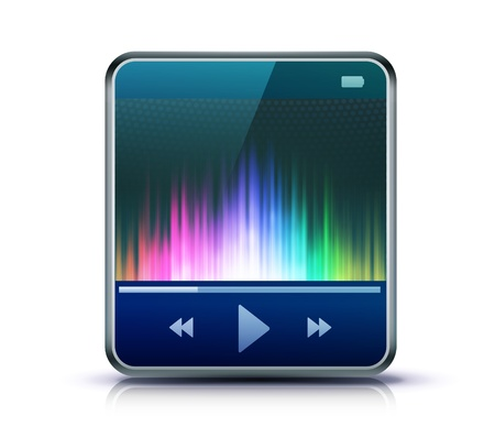 Vector illustration of cool detailed icon representing glossy media player. Vector
