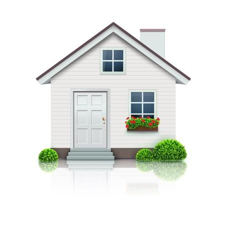Ilustración vectorial de icono de la casa fresca detallada sobre fondo blanco.