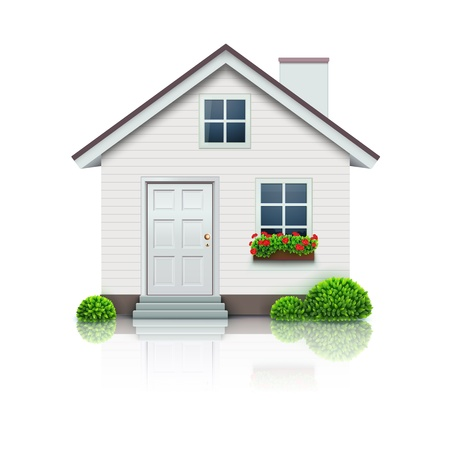 exteriors: Vector illustration of cool detailed house icon isolated on white background. Illustration