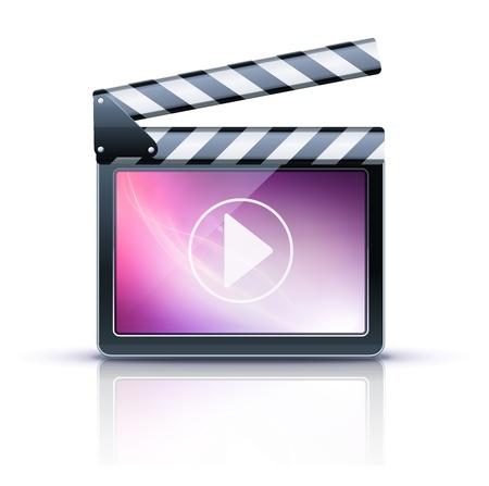 кинематография: Векторные иллюстратор значок Медиаплеер.