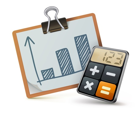 accounting icon: Vector illustration of business concept with calculator icon and finance graph