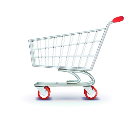 shopping trolleys: illustration of side view empty supermarket shopping cart isolated on white background. Illustration