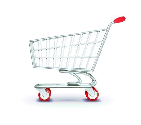 supermarket shopping cart: ilustraci�n de la vista lateral carretilla vac�a compras en el supermercado aisladas sobre fondo blanco.