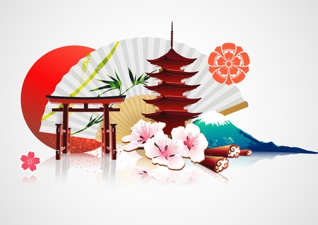 spring in japan: illustration of abstract styled Decorative Traditional Japanese background