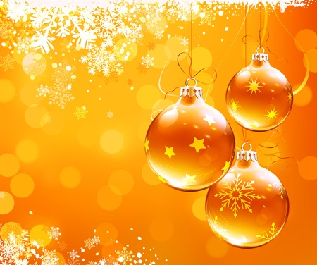 modern christmas baubles: illustration of orange christmas abstract background with cool snowflakes and Christmas decorations Illustration