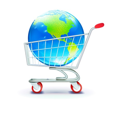 sell online: illustration of globle shopping concept with shoppingcart containing  globe
