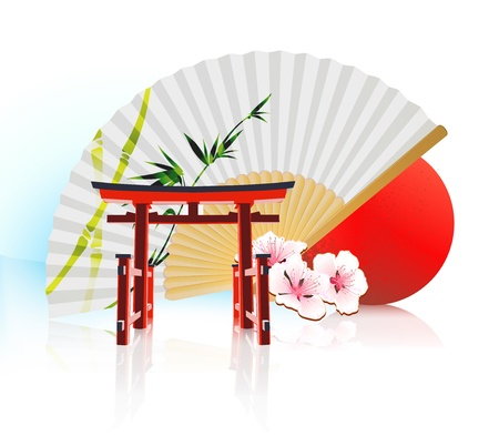 red fan: illustration of abstract styled Decorative Traditional Japanese background