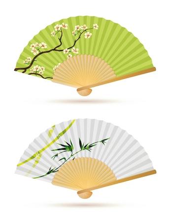 flor de sakura: ejemplo de dos ventiladores japoneses plegables aislados en blanco.