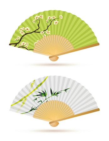 open fan: illustration of two japanese folding fans isolated on white.