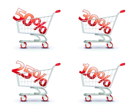 shoppingcart: illustration set of discount concept with shoppingcart containing different percentage of sale