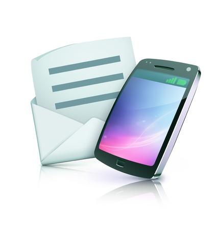 알림: 열린 봉투와 함께 멋진 상세한 휴대 전화 아이콘의 그림 일러스트