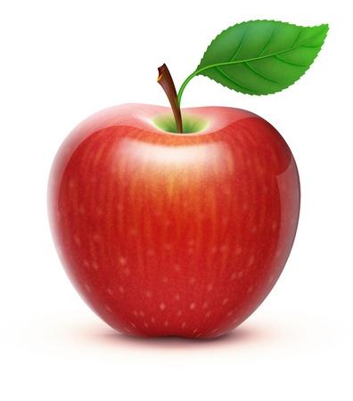 manzana roja: detallada ilustración de grande y brillante manzana roja Vectores