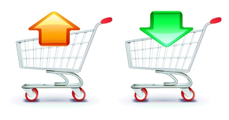 sell online: icons set of shopping carts containing in and out arrows