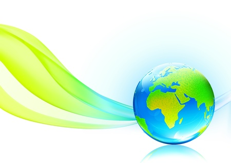 illustration of abstract background with glossy earth globe   Vector
