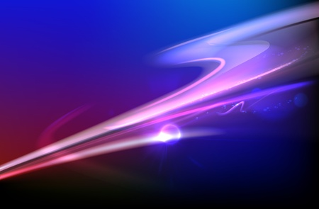 blurry: Vector illustration of blue abstract background with blurred magic neon light curved lines