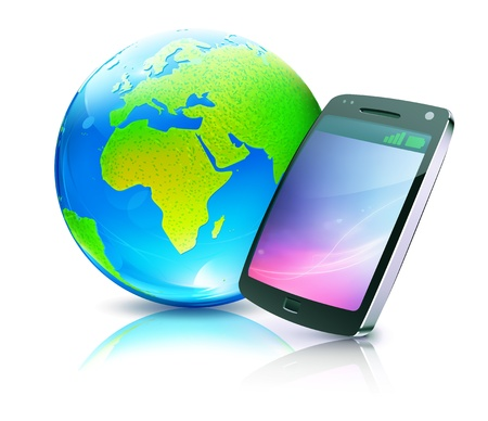 illustration of cool detailed cell phone icon with glossy earth map globe