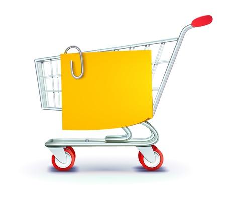 Ilustración del concepto de conjunto de la compra con carrito de compras y la lista de amarillo nota de papel