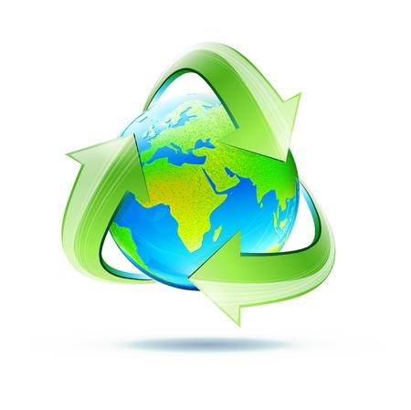 reforestaci�n: ilustraci�n de globo azul con el verde brillante de la tierra el s�mbolo de reciclaje Vectores