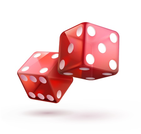 illustration of shiny red dices on the white  background.  Vector