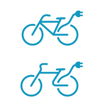 bicycle silhouette: illustration of Simple Electric bicycle icon Illustration