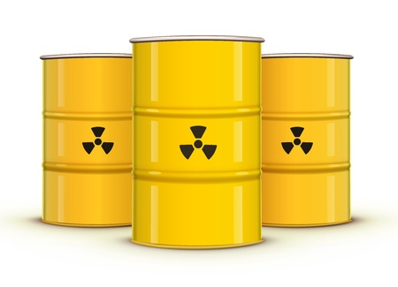 radiation pollution: illustration of yellow metal barrels with nuclear waste