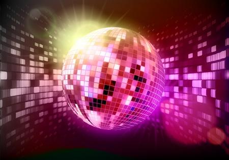 Ilustración de fondo abstracto con las partes brillantes luces y bola de discoteca