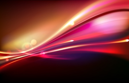 illustration of red abstract background with blurred magic neon light curved lines