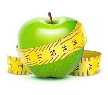 테이프를 측정하는 노란색과 녹색 사과 그림