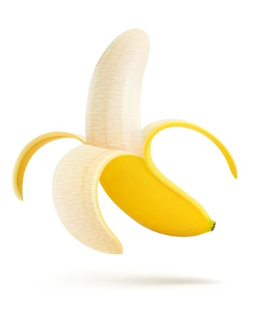 banana: illustration of half peeled banana isolated on a white background