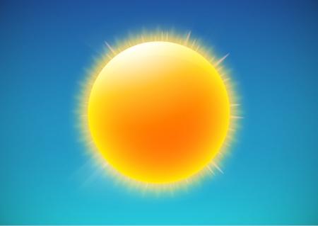 sol caricatura: ilustración del icono fresco clima único - el sol brillante en el cielo azul Vectores