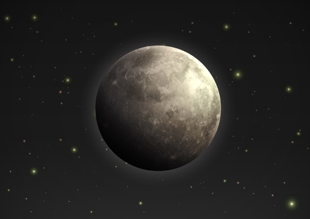 full time: illustration of cool single weather icon - realistic moon in the night sky