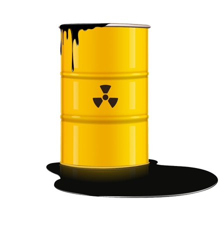 nuclear waste: illustration of yellow metal barrel with nuclear waste