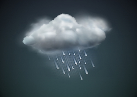 hailstorm: illustration of cool single weather icon -  raincloud with raindrops in the dark sky