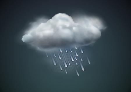 illustration de l'icône de temps froid seul - nuage de pluie avec des gouttes de pluie dans le ciel sombre