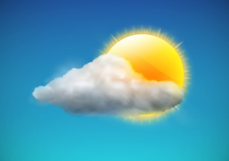 clouds cartoon: illustration of cool single weather icon - sun with cloud floats in the sky Illustration