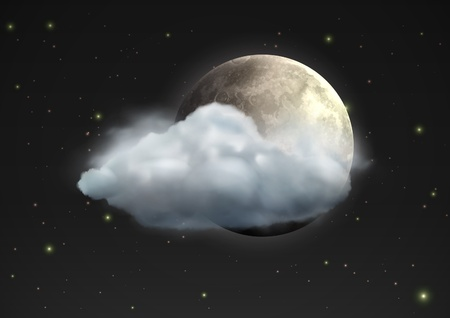 moody: illustration of cool single weather icon - realistic moon with cloud floats in the night sky