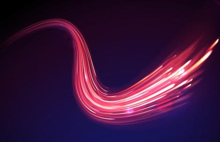 흐리게 마술 네온 빛 곡선 라인과 빨간색 추상적 인 배경 그림 일러스트