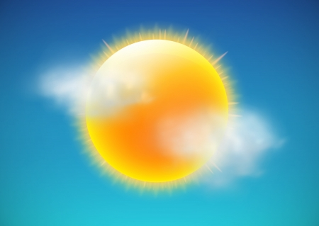 warmth: illustration of cool single weather icon-sun with few clouds floats in the sky