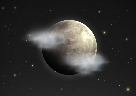 moody: illustration of cool single weather icon - realistic moon with few clouds floats in the night sky