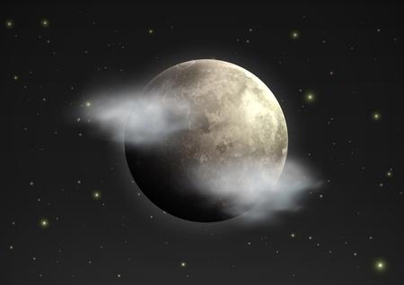 moody sky: illustrazione di fresco singola icona meteo - moon realistica con poche nuvole galleggia nel cielo notturno