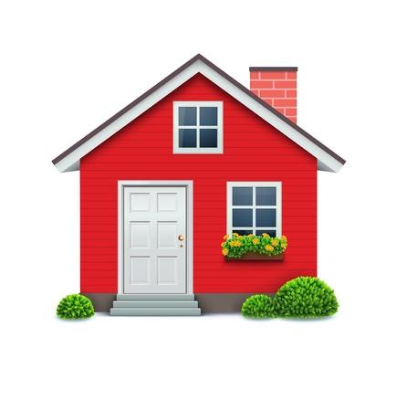 차가운 자세한 빨간 집 아이콘의 그림 흰색 배경에 고립입니다.