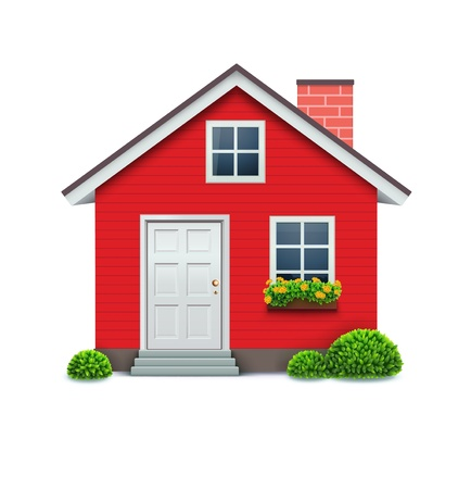 illustration of cool detailed red house icon isolated on white background.
